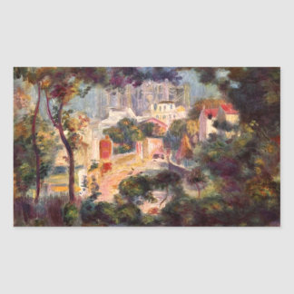 Landscape with the view of Sacre Coeur by Renoir Rectangular Sticker