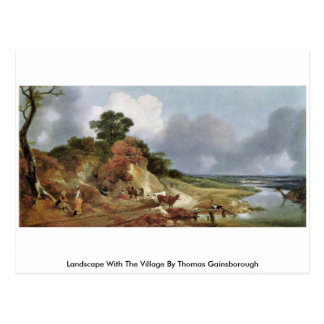 Landscape With The Village By Thomas Gainsborough Postcard