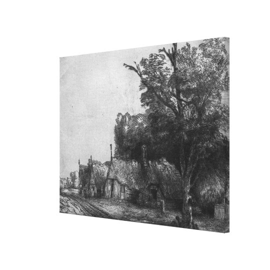 Landscape with Three Cottages, 1650 Canvas Print