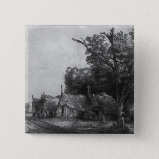 Landscape with Three Cottages, 1650 Pinback Button