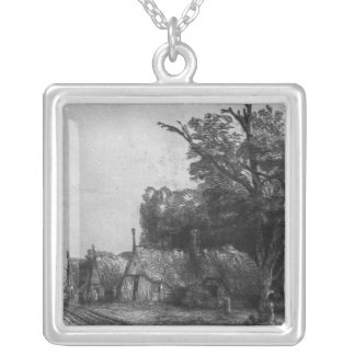 Landscape with Three Cottages, 1650 Square Pendant Necklace