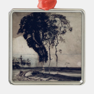Landscape with Three Trees, 1850 Square Metal Christmas Ornament