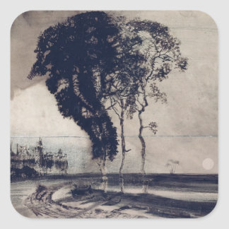 Landscape with Three Trees, 1850 Square Sticker