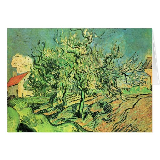 Landscape with three trees and houses by van Gogh Stationery Note Card