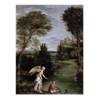 Landscape with Tobias laying hold of the Fish Poster