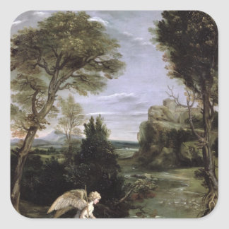 Landscape with Tobias laying hold of the Fish Square Sticker