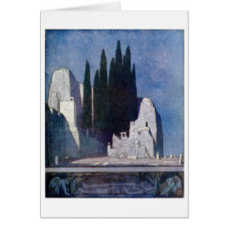Landscape with tombs, rocks, and cypress grove greeting card