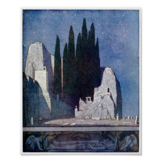 Landscape with tombs, rocks, and cypress grove poster