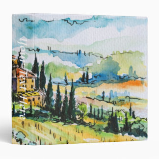 Landscape with town and cypress trees 3 ring binder