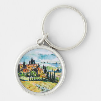 Landscape with town and cypress trees keychain