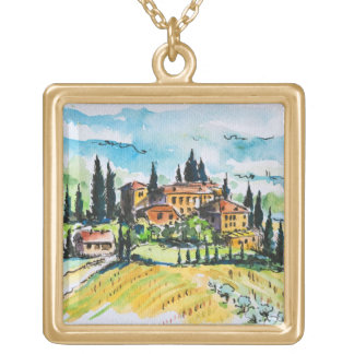 Landscape with town and cypress trees personalized necklace