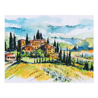 Landscape with town and cypress trees postcard