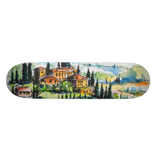 Landscape with town and cypress trees skateboard decks
