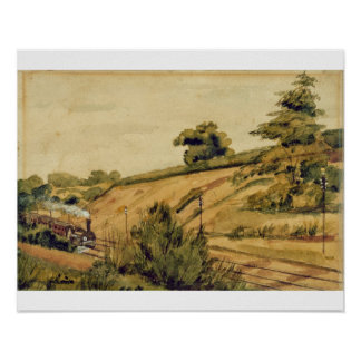 Landscape with Train, 1854 (w/c and pencil on pape Poster