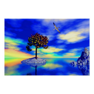 landscape with tree and bird in blue-multicolour poster