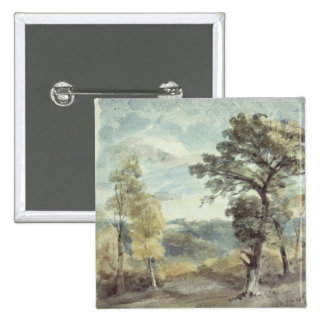 Landscape with Trees and a Distant Mansion Button