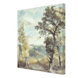 Landscape with Trees and a Distant Mansion Canvas Print