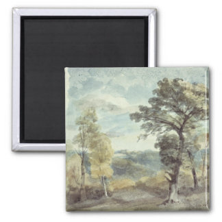 Landscape with Trees and a Distant Mansion 2 Inch Square Magnet