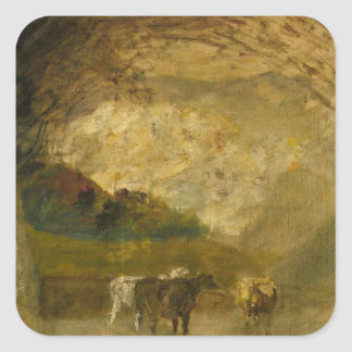 Landscape with Trees and Cattle by Albert Pinkham Square Sticker