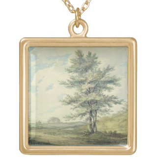 Landscape with Trees and Figures, c.1796 (w/c over Gold Plated Necklace