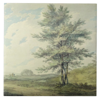 Landscape with Trees and Figures, c.1796 (w/c over Tile