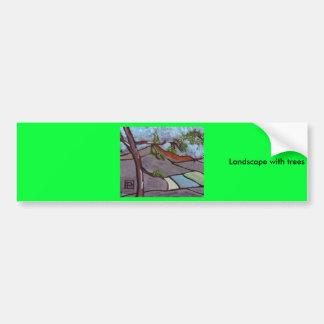 landscape with trees car bumper sticker