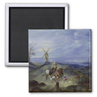 Landscape with Two Windmills, 1612 Magnet