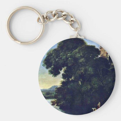 Landscape With Vesta Temple In Tivoli Basic Round Button Keychain