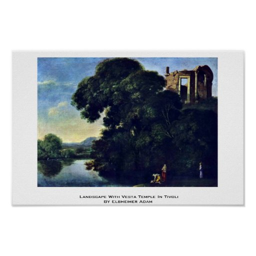 Landscape With Vesta Temple In Tivoli Print