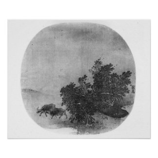 Landscape with water buffalo, Song Dynasty Print
