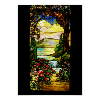 Landscape with Waterfall,Tiffany 1920 Poster