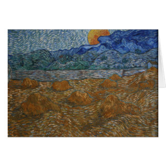 Landscape with Wheat Sheaves and Rising Moon Card