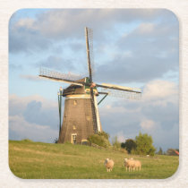 Landscape with windmill and sheep square paper coaster