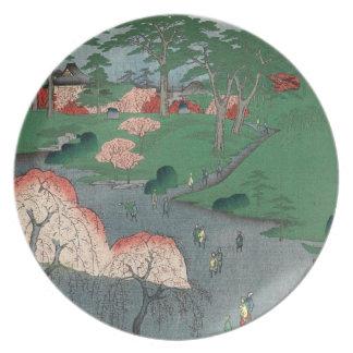 Landscaped garden of Higure village temple Plate