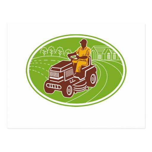 landscaper gardener lawn mower post cards