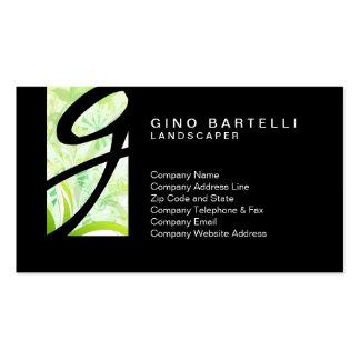 Landscaper Green Foliage Monogram Skilled Trade Business Card