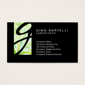 Landscaper Green Foliage Monogram Skilled Trade Business Card