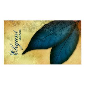 Landscaping Business Blue Leaves Vintage Damask Business Card Templates