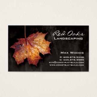 Landscaping Business Card Black Maple Leaf