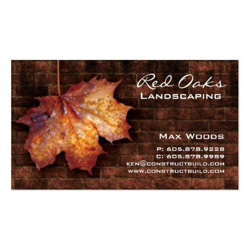 Landscaping Business Card Brick Maple Leaf Brown