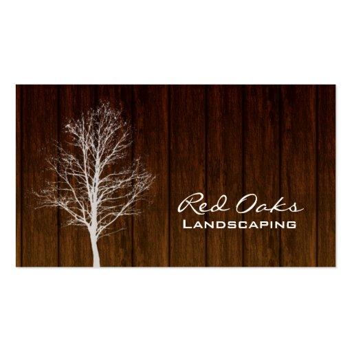 Landscaping Business Card Wood Tree White Oak