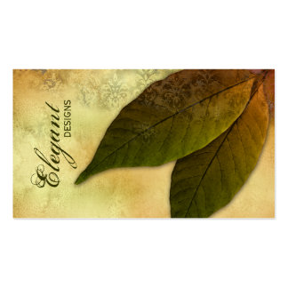 Landscaping Business Green Leaves Vintage Damask Business Card Templates