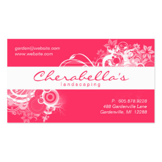 Landscaping Floral Business Card Coral White