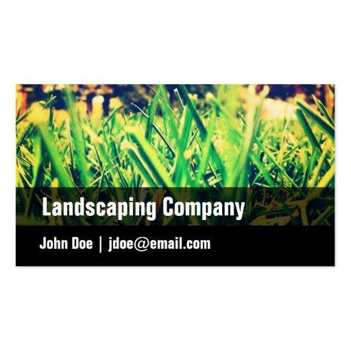 Green Black Grass Landscaping Business Card
