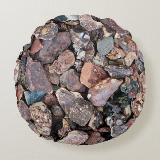 Landscaping Lava Rock Rubble and Stones Round Pillow