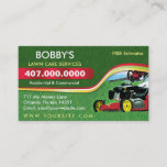 """Landscaping Lawn Care Mower Business Card Template<br><div class=""""desc"""">Customize this lawn care (landscaping) business card template design to suit your needs and business. This lawn care template displays lawn mower and green grass.</div>"""