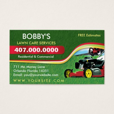 Landscaping Lawn Care Mower Business Card Template Zazzlecom - Lawn care business cards templates free