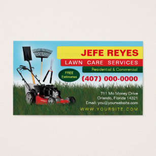 Yard maintenance business cards templates zazzle landscaping lawn care mower business card template flashek Image collections