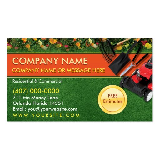 Landscaping lawn care mower business card template zazzle for Landscaping business