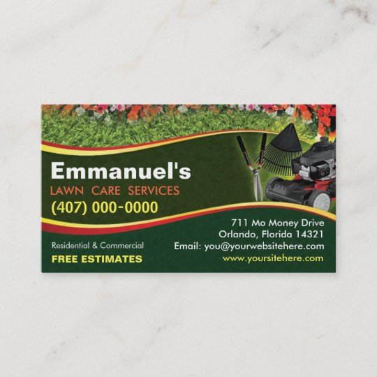 Landscaping lawn care mower business card template zazzle landscaping lawn care mower business card template flashek